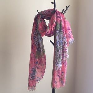 Anthropologie Coral Animal Printed Scarf